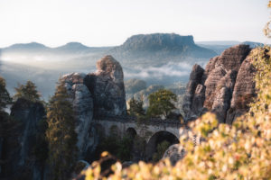 Bastei bridge in the morning light
